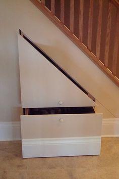 ideen stauraum unter der treppe schubladen flur