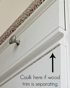 Caulk between the grab bars and the flat fronts of these kitchen cabinets. Caulk between the grab bars and the flat fronts of these kitchen cabinets. Decor, Kitchen Cabinets, Cabinet, Kitchen Decor, Oak Trim, Home Decor, Melamine Cabinets, Wood Trim, Kitchen Renovation
