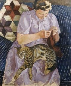 This painting reminds me of Grandma B.  Not only the cat, but the crochet pillow behind her.