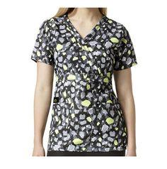 {SM} Easy Fit By Wonderwink Medical Uniform Mock Wrap Abstract Print Scrub Top #WonderWink
