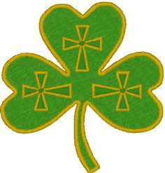 """Irish Shamrock Embroidery Design. Every Irishman and Irishwoman knows that """"shamrock"""" means little clover and that St. Patrick used the shamrock to teach the Good Word. He saw in the shamrock's three petals the Father, the Son and the Holy Spirit."""