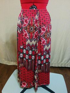 BUY IT NOW! Free Shipping! Red Knit Full Skirt Mixed Tribal Print N Touch Size L Slinky Stretch Fabric  | eBay
