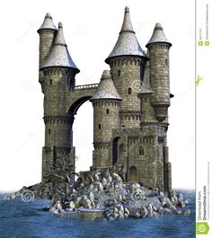 Fantasy castle on an island