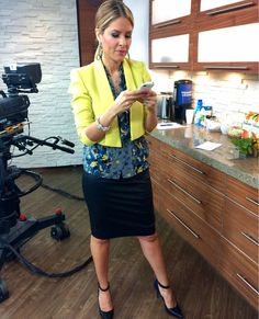 Thursday, September 18th | Dina's outfit included: LOFT Floral Blouse $54.50 BCBGMAXAZRIA Canary Yellow Blazer $264.00 HUDSON'S BAY Earrings $14.00 Betsey Johnson Spike and Pearl Bow Bracelet $65.00 & COACH Black and Navy Pumps with Ankle Straps $178.00
