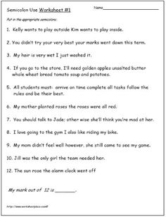Semicolon and Commas Worksheet | Writing | Pinterest | Semicolon ...