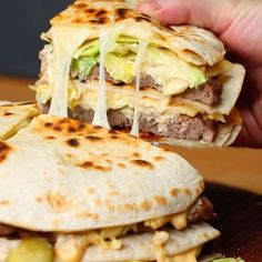 Quesadilla Big Mac⠀ Here's the ingredients you'll need:⠀ _____________________⠀ 4 cups beef mince⠀ 1 tbsp salt⠀ 1 tbsp pepper⠀ 1 tsp garlic powder⠀ 6 large tortillas⠀ 2 cups each of grated cheddar and mozzarella, mixed⠀ 2 cups chopped iceburg lettuce⠀ Meat Recipes, Mexican Food Recipes, Cooking Recipes, Healthy Recipes, Cooking Tv, Fastfood Recipes, Cooking Sushi, Hamburger Recipes, Healthy Dinners