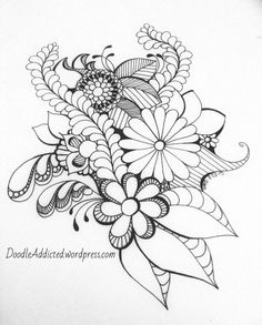 Creative Drawing doodler's block drawing by Heidi Denney - I've been in quite a creative rut lately for various reasons. I hate not being creative. It's like not drinking water. Eventually I move slower, get more tired, and just want to sleep… Zentangle Drawings, Doodles Zentangles, Zentangle Patterns, Doodle Drawings, Doodle Art, Embroidery Patterns, Tangle Doodle, Doodle Designs, Flower Doodles