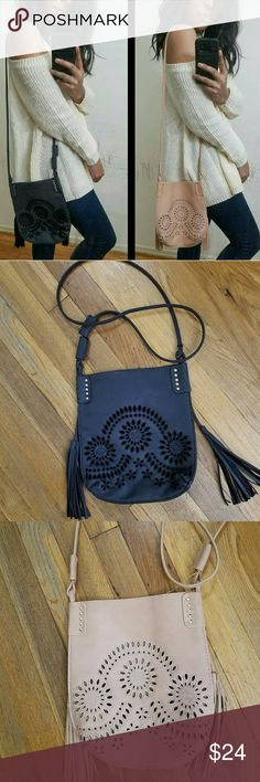 new| BEIGE DARK GRAY PERFECT FRINGE CROSSBODY Holy! I love this Boho Fringe Embroidered crossbody. Features non adjustable straps, gold metal hardware. Super chic embroidery front. This is a thin bag and perfect the girly girl essentials.   PRICE IS FIRM UNLESS BUNDLED Bags Crossbody Bags