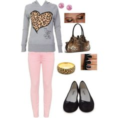 cute animal print/pink everyday outfit