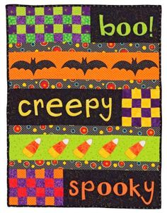 Turn your home into a haunted house with Halloween quilts featuring novelty prints, fall colors, and spooky motifs. Halloween Applique, Halloween Sewing, Halloween Quilts, Halloween Projects, Fall Sewing Projects, Quilting Projects, Quilting Ideas, Holidays Halloween, Halloween Treats