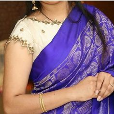 Embroidery patterns indian blouse 49 ideas for 2019 White Blouse Designs, Saree Blouse Neck Designs, Bridal Blouse Designs, Mirror Work Blouse Design, Stylish Blouse Design, Designer Blouse Patterns, Hand Embroidery, Simple Embroidery, Embroidery Patterns