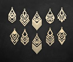 This geometric earring templates was created using my original hand drawn designs. You can resize template size as you wish in your cutting software without loosing detail. ----YOU WILL RECEIVE---- 1 ZIP file- 9 file formats ♥ EPS, SVG, CDR, DXF, DWG, AI (vector formats) ♥ PNG