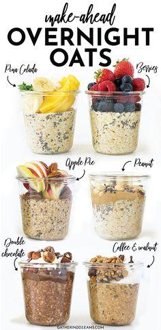 Overnight Oats Receita, Easy Overnight Oats, Healthy Meal Prep, Healthy Snacks, Healthy Recipes, Healthy Breakfasts, Dessert Healthy, Eat Healthy, Diet Recipes