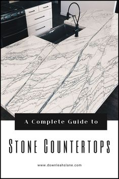 A Complete Guide to Stone Countertops - Down Leah's Lane Porcelain Countertops, Concrete Countertops, Concrete Cement, Modern Farmhouse Bathroom, Farmhouse Style Kitchen, Rustic Kitchens, Craftsman Kitchen, Vintage Farmhouse, Luxury Modern Homes