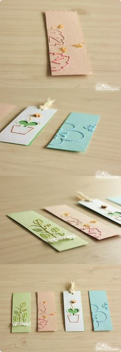 Colorful stitched bookmarks on textured paper. Cute Bookmarks, Paper Bookmarks, How To Make Bookmarks, Diy Arts And Crafts, Crafts For Kids, Art Origami, Diy Notebook, Paper Embroidery, Paper Cards