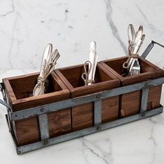 The Farmers Silverware Caddy and kitchen utensil holder is a stylish accessory for any kitchen countertop or dining table. Modern Countertops, Outdoor Kitchen Countertops, Concrete Countertops, Kitchen Cabinets, Kitchen Utensil Storage, Cutlery Storage, Kitchen Utensils, Kitchen Organizers, Cabinet Organizers