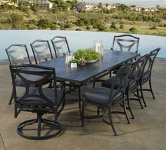 Beau Large Patio Dining Set With Beautiful Tile Table And 8 Dining Chairs.
