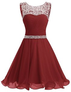 Dresstells® Short Chiffon Open Back Prom Dress With Beading Evening Party Dress Pink Size 6