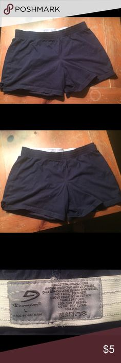 PE shorts in navy blue These are basically the shorts my kids got for PE, simple cotton mix Champion brand in good condition, no tears holes or stains Champion Bottoms Shorts