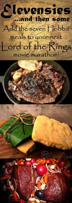 Seven meals while watching LOTR?? Yes!!! Links to recipes created by fans of all of your favorites mentioned in the movies and books of Lord of the Rings and the Hobbit :) Breakfast, second breakfast, elevenses, luncheon, afternoon tea, dinner, and supper