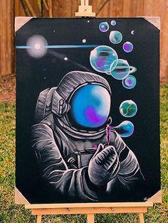 galaxy paint ideas galaxypaint galaxypainting galaxyart large 36 x 28 hand painted canvas acrylic astronaut fantasy galaxy space art 239 99 ? Cute Canvas Paintings, Diy Canvas Art, Large Canvas Art, Canvas Ideas, Space Painting, Painting & Drawing, Trippy Painting, Space Drawings, Art Drawings
