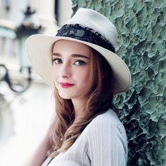 Fashion lace white panama hat for women folding straw sun hats