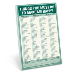 Knock Knock Things You Must Do to Make Me Happy Notepads are funny checklist pads. Knock Knock notepads are perfect gifts for husbands, boyfriends, family.