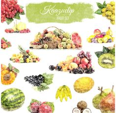 Watercolor Fruit Set Collection by Kaazuclip on @creativemarket
