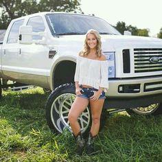 Diesel Trucks, Big Ford Trucks, Lifted Trucks, Country Girl Truck, Country Girls, Trucks And Girls, Car Girls, Redneck Woman, Ford Girl