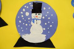 """Paper Snow globe...The kid's will love it! Write sequence flow map, """"How to make a snowman""""."""