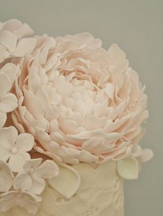 Peony wedding cake - great addition to a simple off white wedding cake!
