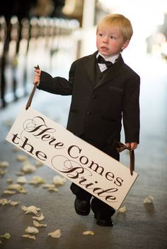 TWO FLOWER GIRLS HOLD EACH END Here Comes the Bride with And they lived Happily Ever After.  8 X 24 inches, 2-Sided, Bridal Sign, Marriage Sign,  Ring Bearer, Flower Girl....