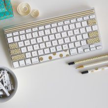Paper Craft It™ White/Gold Washi Tape Keyboard
