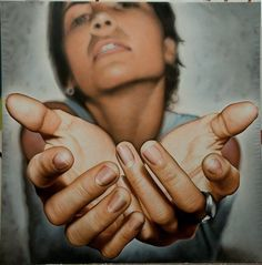 Victor Rodriguez (b. acrylic on canvas {contemporary realism art female reaching hands woman palms foreshortening painting Ap Drawing, Life Drawing, Anatomy Drawing, Drawing Faces, Drawing Tips, Figure Drawing, Hand Reference, Pose Reference, Drawing Reference