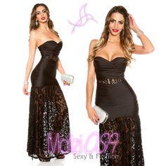Vestito Abito Cerimonia MaliziOSA donna elegante Pizzo abito lungo a Fascia 1939a894ee18