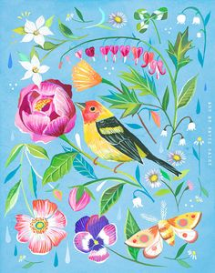 Western Tanager art print | Floral Artwork | Bird Painting | Katie Daisy | 8x10 | 11x14