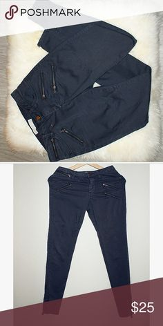 Zara zipper skinny pants Dark grey color. Beautiful style. Has two minimal dots of stain. 7/10 condition Zara Jeans Skinny