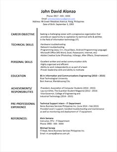 having trouble writing your resume read and download this sample resume format for fresh graduates sample resume formatcover lettersphilippines - Format Cover Letter For Resume