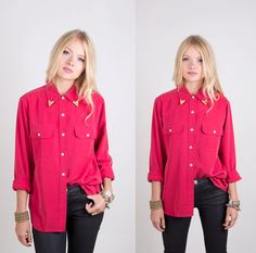 Vintage Red Blouse with Collar Tips Size by lapetitemarmoset, $39.99 Collar Tips, Detachable Collar, Collar Blouse, Red Blouses, Breast, Leather Jacket, Sleeves, Jackets, Vintage