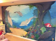 Dolphin Mural in young girls room.