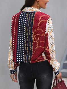 Shop Chic Me Printed Top Affection – Chic Me offers Printed Top Affection deals to fit the best trending styles Pattern Fashion, Sleeve Styles, Printed Shirts, Shirt Designs, Winter Fashion, Womens Fashion, Fashion Trends, Leather Jacket, Street Style