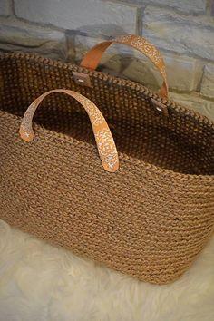 Špagát,koža, drevo, ornament = jutová taška