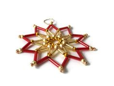 red and gold christmas seed bead star, tree ornament by Kreativprodukte, 鈧?.70