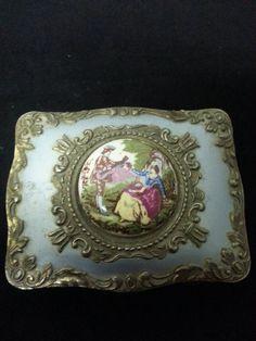 Vintage Silver and Porcelain Trinket Box