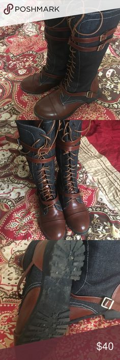 Mid-calf boots Mid-calf boots worn 1 time I just don't have any outfits to match...size is a 5.5 but fits more like a 6 Shoes Lace Up Boots