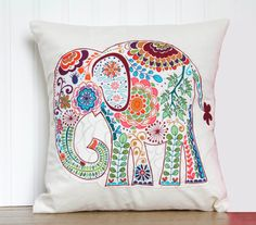 Elephant Pillow- 12x12 Decorative Throw Pillow Cover with pink paisley elephant appliqué and bright pink batik backing via Etsy