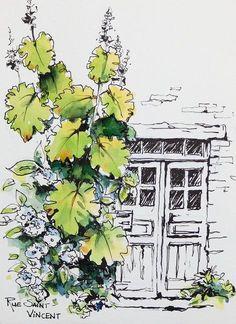 Croquis,carnets de voyage et aquarelle, Stage de croquis en ligne, Sketching, travel journals and watercolor, online workshop #watercolorarts