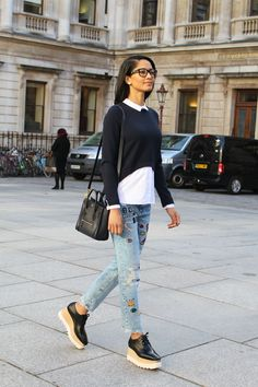 Celine nano bag, Zara jeans, Zara top, Stella McCartney shoes