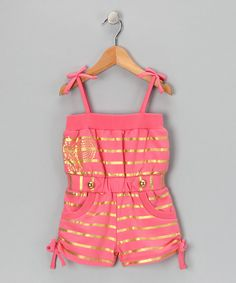 Radiate fun and function without fussy frill. This piece has deep pockets, a soft elastic waistband plus adjustable straps. Combine that with stripes that shine, and this romper is sure to be a summer staple.100% cottonMachine wash; tumble dryImported