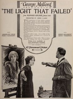 1923: THE LIGHT THAT FAILED - Jacqueline Logan Famous Novels, Story Writer, Young Actresses, If Rudyard Kipling, Opera Singers, Film Director, The World's Greatest, Short Stories, Logan